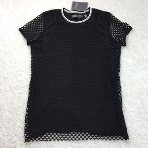 89th and Madison Black Crochet Overlay Shirt SMALL